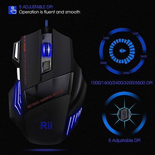 33293e66925 Quickview rii 3200 dpi 7 button usb wired gaming mouse, comfortable palm  feeling, such as, high quality wire material: the red and black braided  wire sync ...