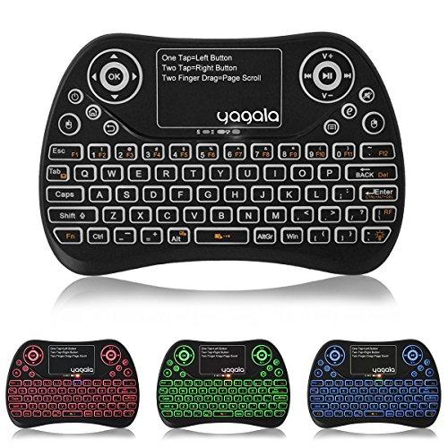 YAGALA Backlit Mini Wireless Keyboard with Touchpad 2 4G