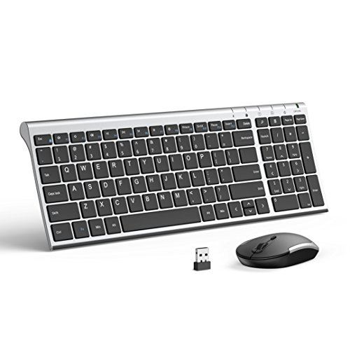 d8cc7ffb2df Black and Silver – Wireless Keyboard Mouse, Jelly Comb 2.4GHz Ultra Slim  Compact Full Size Rechargeable Wireless Keyboard and Mouse Combo for  Laptop, ...