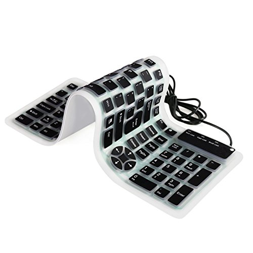 BONUSIS Foldable Silicone Keyboard Flexible Keyboard Roll Up